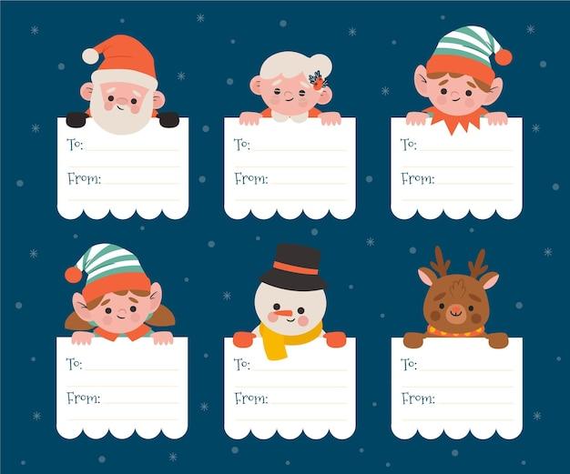 Labelcollectie voor kerstontwerp