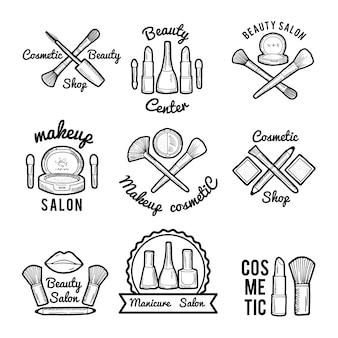 Labels instellen voor schoonheidssalon. monochrome afbeeldingen set van verschillende make-up tools