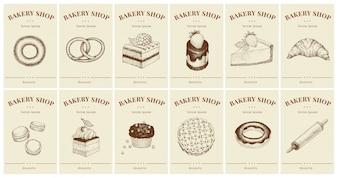 Labels met gebak en desserts. Sjablonen prijskaartjes instellen voor bakkerijwinkel