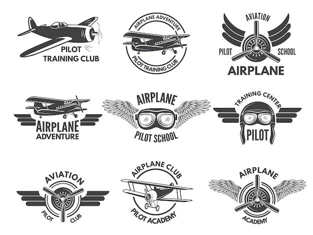 Labels ontwerpsjabloon met foto's van vliegtuigen