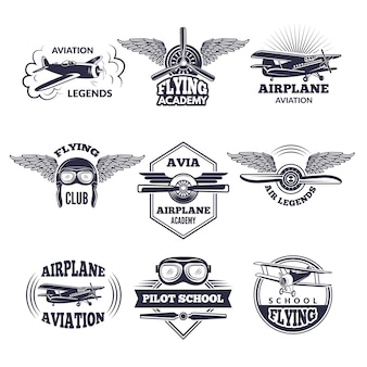 Labels op vliegtuigthema.