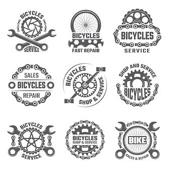 Labels sjabloonontwerp met versnellingen, kettingen en andere delen van de fiets