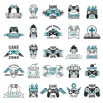 Labels voor videogames. gaming console cybersport logo joystick controller symbolen van entertainment club collectie