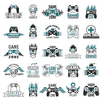 Labels voor videogames. gaming console cybersport logo joystick controller symbolen van entertainment club collectie