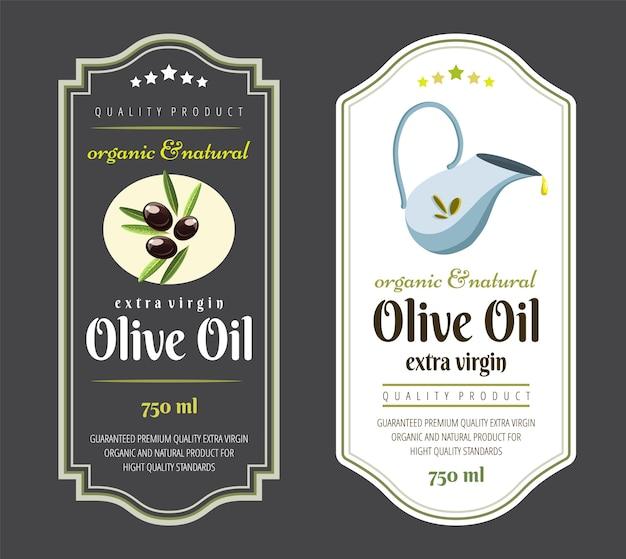 Labelsjabloon voor olijfolie. elegant label voor premium olijfolieverpakkingen.