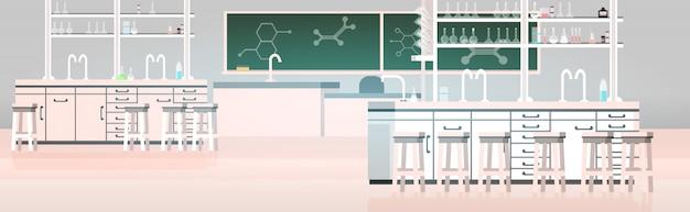 Laboratorium chemische stof in de wetenschap klaslokaal interieur van de hogeschool leeg geen mensen lab met meubels horizontaal