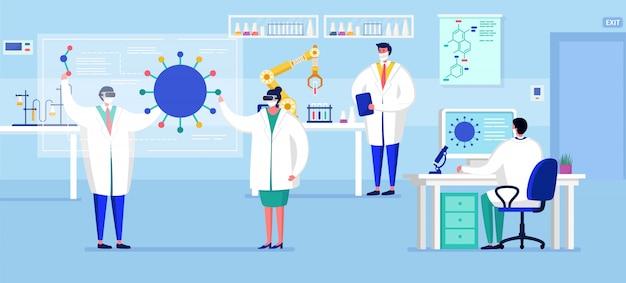 Laboratorium coronavirus vaccin antivirale biologie onderzoek antivirus artsen illustratie. wetenschappers in laboratorium, chemische onderzoekers met laboratoriumapparatuur