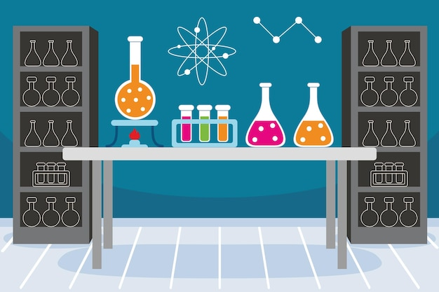 Laboratorium in vlakke stijl