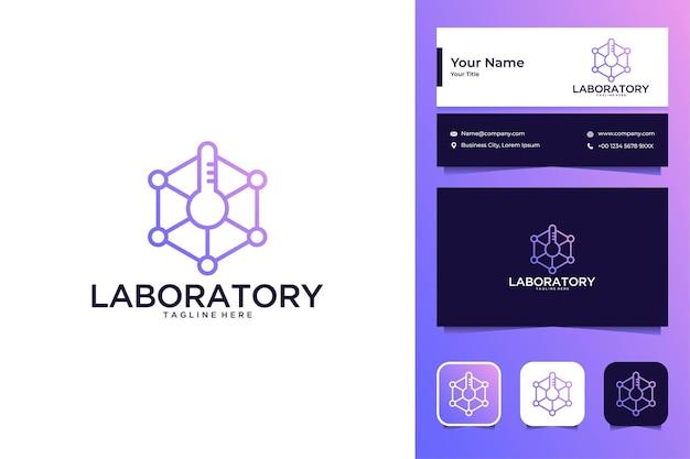Laboratorium lijntekeningen logo ontwerp en visitekaartje Premium Vector