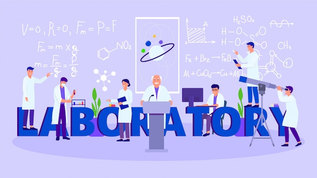 Laboratorium met werkende mensen wetenschappers team vectorillustratie, belettering laboratorium.