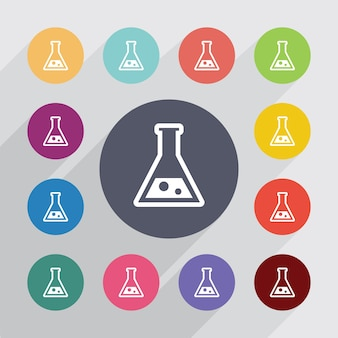 Laboratorium, plat pictogrammen instellen. ronde kleurrijke knopen. vector