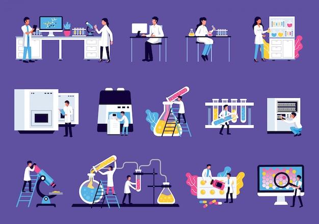 Laboratorium set met geïsoleerde afbeeldingen van meubilair van laboratoriumapparatuur met kleurrijke vloeistoffen en wetenschappers menselijke karakters
