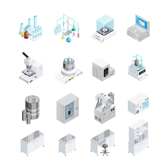 Laboratoriumapparatuur icon set