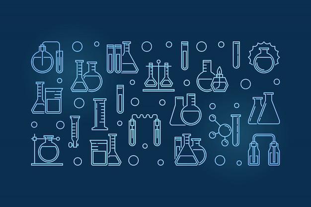 Laboratoriumapparatuur schetst blauwe banner