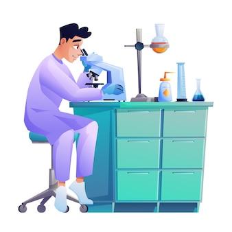 Laboratoriumassistent kijkt door microscoop experiment wetenschappelijk werker