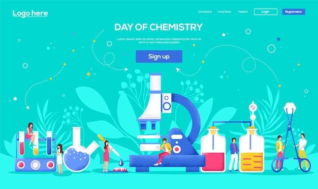 Laboratoriumconcept-flyer, webbanner, ui-koptekst, site invoeren. mensen karakter met items rond laboratorium. korrelstructuur en ruiseffect.