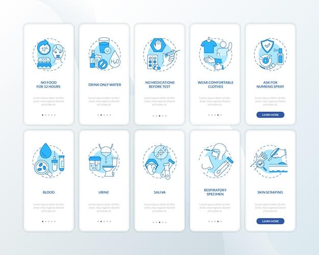 Laboratoriumdiagnostiek onboarding mobiele app-paginascherm met ingestelde concepten