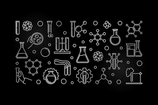 Laboratoriumexperimenten schetsen zilveren banner