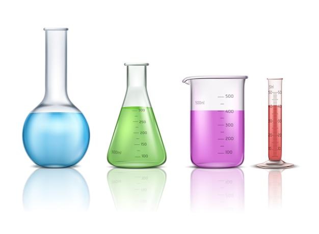 Laboratoriumglaswerk 3d-realistische vector set geïsoleerd op een witte achtergrond