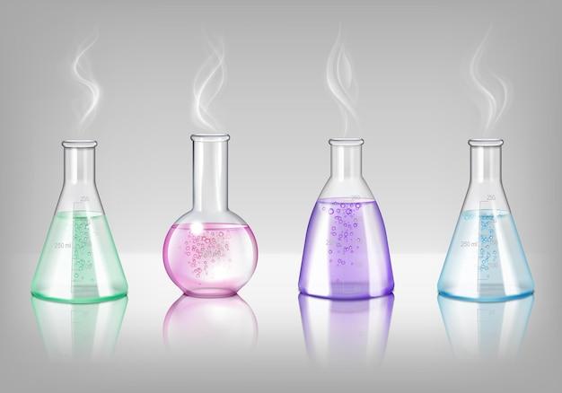 Laboratoriumglaswerk van verschillende vormenillustratie