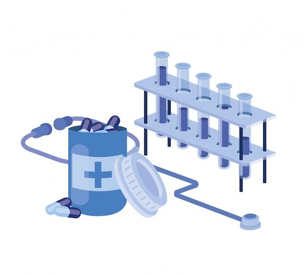 Laboratoriuminstrumenten met geneesmiddelen op wit