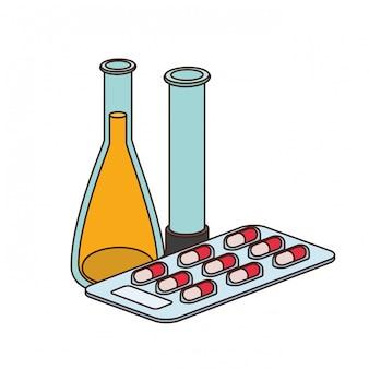 Laboratoriuminstrumenten met medicijnen