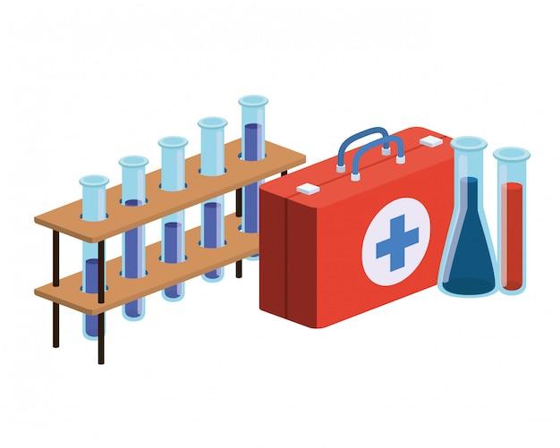 Laboratoriuminstrumenten op wit