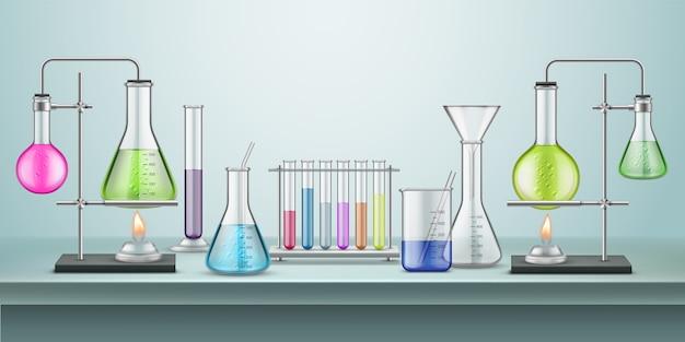 Laboratoriumkolven met pijpen
