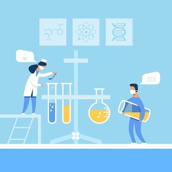 Laboratoriummedewerkers die nieuwe medicijnen bereiden