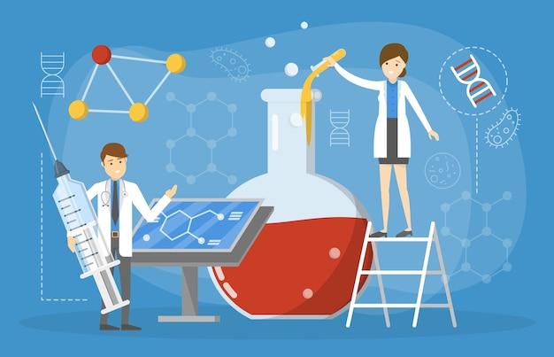 Laboratoriumonderzoek en wetenschappelijk experiment concept. idee van onderwijs en innovatie. wetenschappelijke ervaring. speciaal gereedschap zoals reageerbuis. illustratie