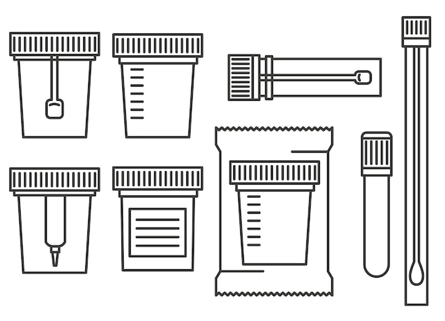 Laboratoriumtest containers. test urine, biomateriaal, uitwerpselen, sperma en bloed in plastic potten met deksel.