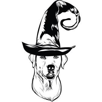 Labrador hond in heksenhoed voor halloween