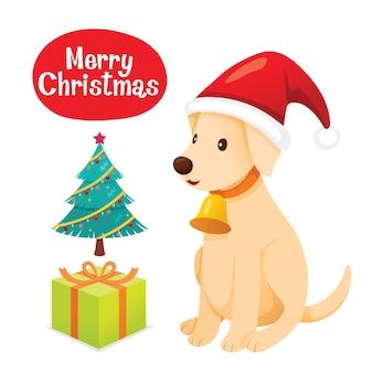 Labrador puppy draagt een kerstmuts
