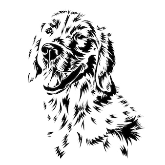 Labrador retriever. silhouet. lijn kunst. lachende hond, zwart-wit, vectorillustratie