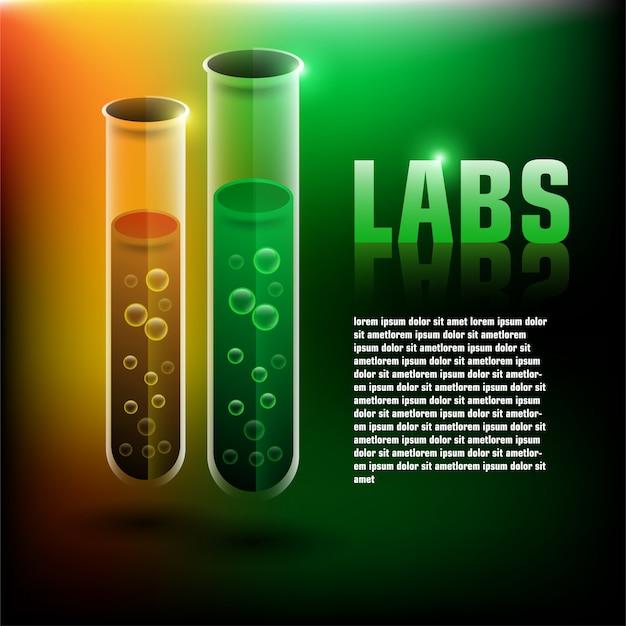 Labs achtergrond met 3d-chemische buis