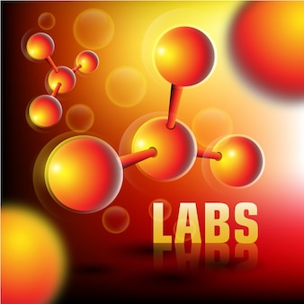 Labs achtergrond met 3d-deeltjes