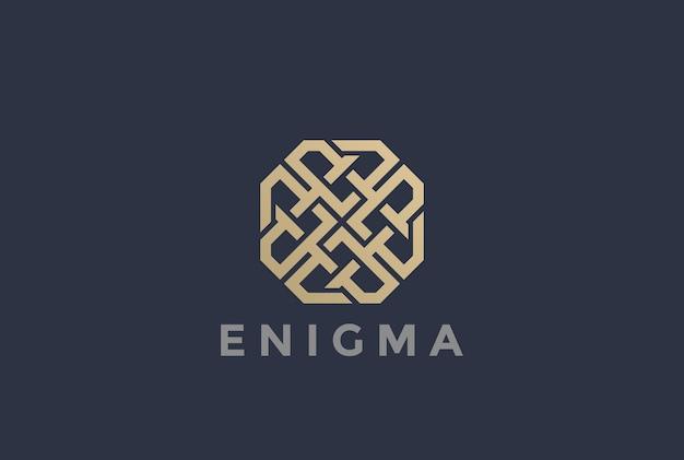 Labyrint doolhof logo geïsoleerd op grijs