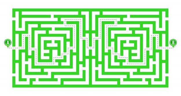 Labyrint, doolhof met ingang en uitgang.