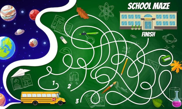 Labyrint doolhof ruimte planeten en sterren, schoolgebouw, bus, briefpapier en wetenschappelijke formules. bordspel voor kinderen, vectorraadsel met verward pad, begin-, eind-, tekenfilm- en schetsleeritems