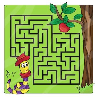 Labyrint, doolhof voor kinderen. in- en uitstappen. kinderen puzzelspel. help de worm om naar de appel te kruipen. vector illustratie