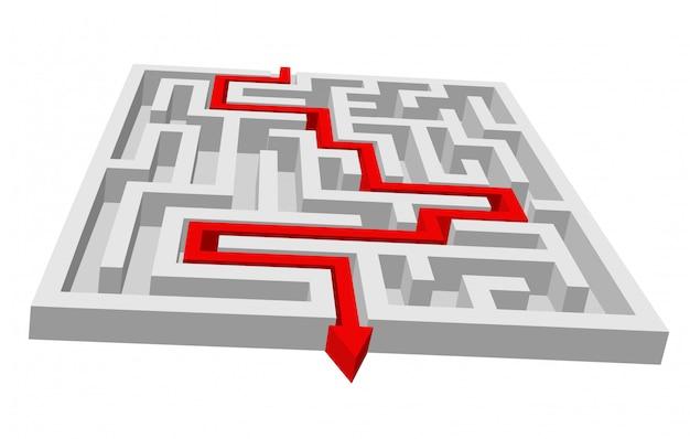 Labyrint - doolhofpuzzel voor oplossing of zoekconcept