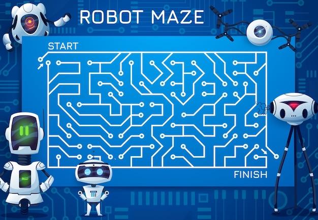 Labyrint doolhofspel met moederbord en robots
