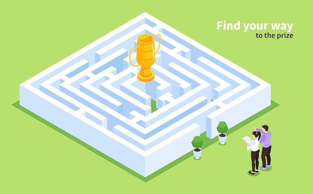 Labyrint spel isometrische illustratie