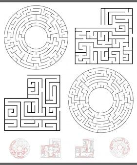 Labyrint vrije tijd game graphics set met lijnen