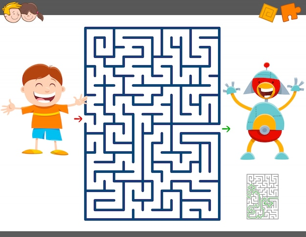 Labyrintspel met cartoonjongen en stuk speelgoed robot