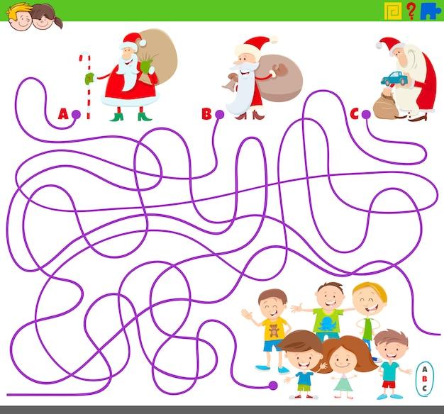 Labyrintspel met de kerstman en kinderen
