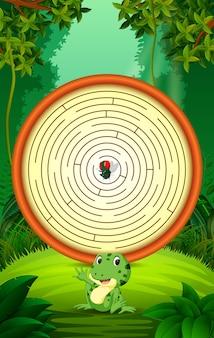 Labyrintspel met grappige kikker en vliegen
