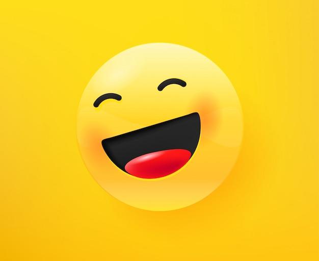 Lach hard emoticon. 3d komische stijl bewerkbare illustratie