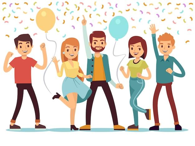 Lachen en dansen jonge mensen op feestje.