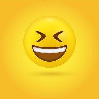 Lachend emoji-gezicht met open mond en dichtgeknepen ogen in modern - grote grijns lachende emoticon